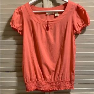 DNKY JEANS Pinkish Coral Shortsleeved Blouse sz SM